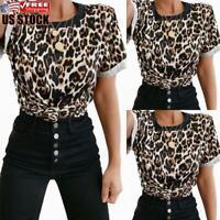 Women's Leopard Printed TShirt Tops Ladies Short Sleeve Round Neck Shirt Blouse