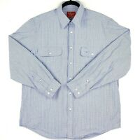 RM Williams Men's Size XL Blue White Check Long Sleeve Business Button Up Shirt