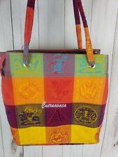 Shoulder Bag Tote Handbag Cuernauaca Mexico Souvenir Colorful Fabric Weave Woven