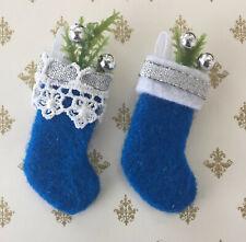 Miniature Dollhouse Christmas Stockings Set 2 Blue Handmade 1:12 Scale by Cyndi