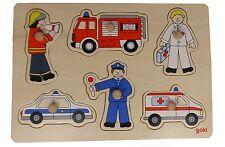 goki Holz Steckpuzzle Polizei Feuerwehr Krankenwagen 8tlg. Holzpuzzle Puzzle NEU