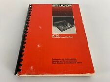 Service Manual for Studer a730