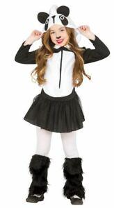 Girls Panda Costume + Legwarmers Animal Zoo Fancy Dress Outfit Kids Childrens