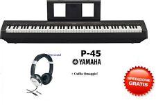 YAMAHA P45 BK PIANO DIGITALE 88 TASTI PESATI con PEDALE SUSTAIN + CUFFIA OMAGGIO