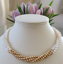 White & Gold Natural Freshwater Cultured Pearl  strand Necklace 14k Gold Clasp