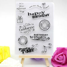 Happy Birthday Various Transparent Clear Rubber Stamp Sheet Scrapbooking