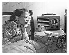 1940s era vintage photo-African American woman-radio-clock-bed clothes-8x10 in