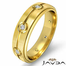 Round Diamond Mens Step Edge Ring 18k Yellow Gold Eternity Wedding Band 0.10Ct