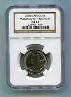 NGC Mandela 90th Birthday R5 2008 Graded Ms 65 Coin Historical Memorabilia X 3