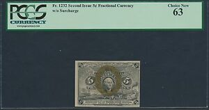 FR1232 5¢ 2ND ISSUE FRACTIONAL CURRENCY W/O SURCHARGE PCGS 63 BR3338