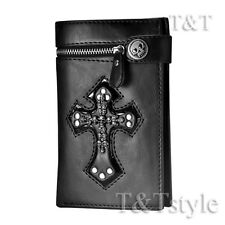 T&T Punk Black Leather Skull Cross Wallet Medium Size H14C