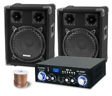 PA Anlage DJ Disco Musik Lautsprecher Boxen Bluetooth Endstufe Kabel Set 800W