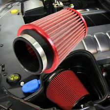 "3"" Car Red Air Filter Inlet Short Ram Cold Intake Round Cone High Flow Cleaner"