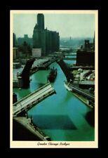 DR JIM STAMPS US CHICAGO RIVER BRIDGES CHROME VIEW ILLINOIS POSTCARD