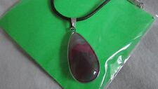 leather thong necklace with pink agate pendant