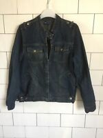 URBAN VINTAGE RETRO FESTIVAL BIKER TRUCKER DISTRESSED DENIM JACKET SMALL #72