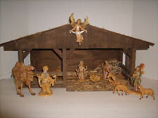 "Vintage Diorama Christmas Nativity Music Box Lighted Depose Italy Figures 22"""
