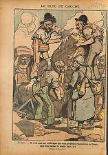 Caricature Politique Bloc Gauche Franc-Maçons Franc-Maçonnerie 1919 ILLUSTRATION