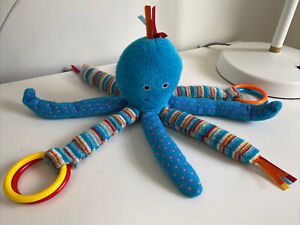 Jellycat Octopus Teething Ring Teal Blue Baby Toy Stuffy Taggie Teether Striped