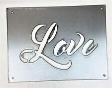 "12 x 9"" Love Metal Wall Art Craft Stencil Vintage Farmhouse Rectangle Sign"