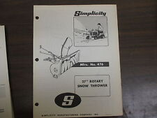 "Simplicity 27"" Snow thrower blower owners & parts manual Model# 476"