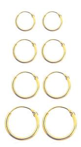 PAIR GOLD PLATED 925 STERLING SILVER HOOP EARRINGS HINGED  6,8,10,12mm Sleeper