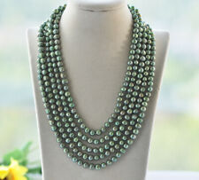"""Z10641 Long 100"""" 8mm Green Round Freshwater Pearl Necklace"""