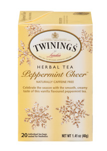 TWININGS OF LONDON PEPPERMINT CHEER HERBAL TEA 20 BAGS PER BOX SEALED Exp.4/2022