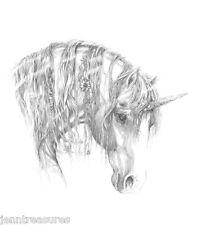 "💛🌈Unicorn magick🌘 fantasy equine horse Arabian 🌈4"" x 6"" giclee' art Print"