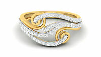 Pave 0,55 Cts Naturel Diamants Fiançailles Band Bague En 750 Solide 18K Or jaune