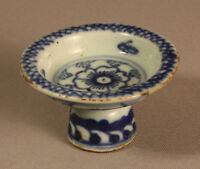 ANTIQUE CHINESE BLUE & WHITE EARTHENWARE STEM BOWL