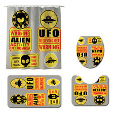 UFO Alien Bathroom Rug Set Shower Curtain Skidproof Toilet Lid Cover Bath Mat