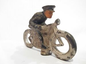 ANTIQUE MANOIL BARCLAY POLICE MOTORCYCLE COP LEAD TOY HARLEY INDIAN VINTAGE