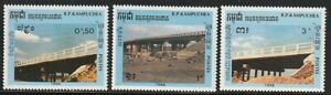 Cambodia   1989   Sc # 915-17   Bridge   MNH   (1178-5)