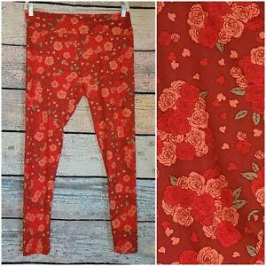 LULAROE Leggings ONE SIZE Multicolor WOMENS TC2 plus size roses floral curvy