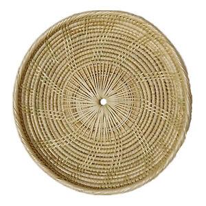 Fruit Plate Rattan Plates Hand Woven Tray Round Breakfast Bread Storage Basket