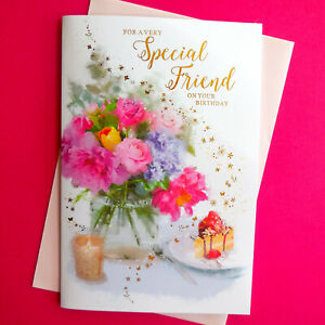 """Special Friend Birthday Card Female Flowers Floral Cake Nice Verse LARGE 9""""x6"""""""