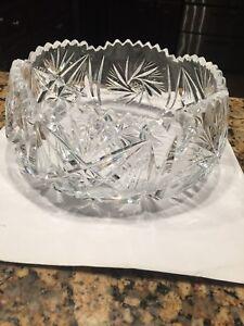 Vintage Heavy Crystal Bohemia Pinwheel Star Fans Bowl Fruit Serving Display