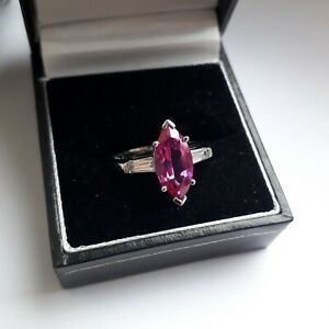 Beautiful Sterling Silver 925 Pink & Clear DQCZ Diamonique Dress Ring. Sz P 1/2.
