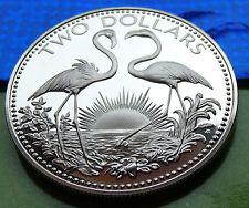 .925 GEM PROOF 1974 Bahamas 925 Silver Dollar 2$ COIN Classic Flamingos w HOLDER