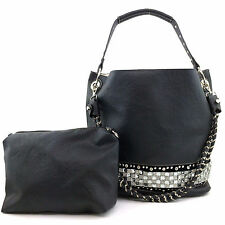 Black Premium Fashion Rhinestone Gemstone Faux Leather Tote Handbag with Pouch