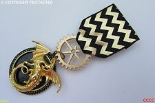 gold Steampunk Medal pindrape badge brooch dragon game of thrones Harry Potter