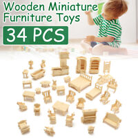 34Pcs 3D DIY Wooden Miniature Dollhouse Furniture Model Puzzle Kids Toys Gift