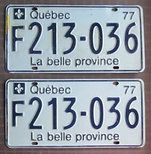 Quebec 1977 COMMERCIAL VEHICLE License Plate PAIR # F213-036