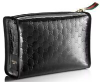GUCCI Parfums Black Patent Cosmetic Water Proof Pouch Clutch Bag Large New