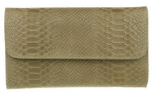 Croc Print Genuine Suede Clutch Bag Italian Leather Evening Womens Handbag Khaki