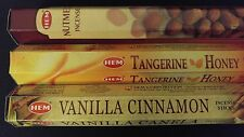 NUTMEG Tangerine Honey Vanilla Cinnamon 60 HEM Incense Sticks 3 Scent Sample Set