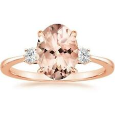 925 Silver Oval Cut Morganite Gemstone Ring Wedding Engagement Jewelry Wholesale