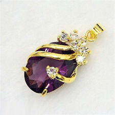 Amethyst Purple Crystal 18KGP Pendant and Necklace