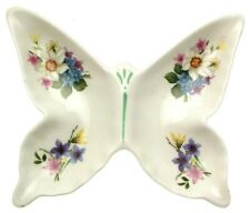More details for butterfly dish crown staffordshire spring flowers pattern